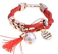 European Style Acrylic Chiffon Fabric Pearl Bubble Charming Tassel Bracelet