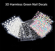 3D Harmless Green Nail Decals 30 Pcs Conventional Spot
