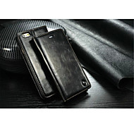 caseme lujo ranura de la tarjeta del tirón la cubierta verdadera billetera de cuero con soporte para el iphone 6 / 6s (colores surtidos)