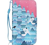 HZBYC®Forest Snowman Pattern PU Material Card Lanyard Case for iPhone 4/4S