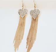 Girl's Heart-shaped Diamond Tassel Earrings