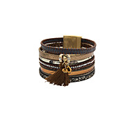 Fashion Women Decorated Multi Row Leather Magnet Buckle Bracelet