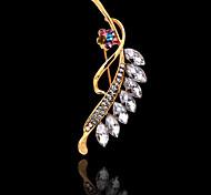 Women's Fashion Noble Inlay Diamond Leaves Brooch