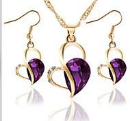 Love Drop Alloy Earrings Necklace Set(1Set)