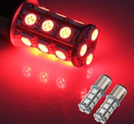 2 x 1157 SMD 5050 18 Red LED Flash Car Brake Tail Rear Signal Stop Light Lamp Bulb