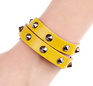 Fashion Sharp Rivet Metal Double Layer Long Strip Leather Bracelets