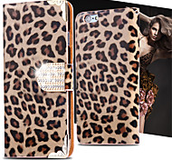 Cool Wild Leopard PU Leather Case Flip Cover Bling Diamond Card Slot For iPhone 5/5S (Assorted Colors)