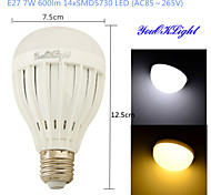 YouOKLight® 1PCS E27 7W 14*SMD5730 600LM White/ Warm White Light LED Energy saving High quality Globe Bulbs (AC85~265V)