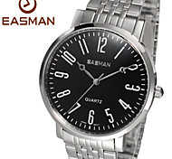EASMAN Brand Mens Watches Stainless Steel Band Fashion Casual Silver Black Wrist Watches for Men Man