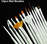 Kuas arte del clavo fijaron, 15 PC putih gel dekorasi, pena Lukisan, peralatan profesional, ALAT gambar