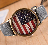 Woman Denim Simple American Flag Wrist  Watch Cool Watches Unique Watches Fashion Watch Strap Watch