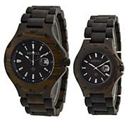 Men's Strap Watch Women's Wrist watch Wood Watch Japanese Quartz Calendar Wood Band Vintage Black Black