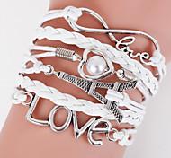 Multilayer Eiffel Tower & Love Weave Bracelet,White