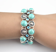 Vintage Look Antique Silver Plated Alloy Crystal Turquoise Lava Stone Women Bracelet(1PC)