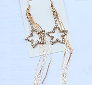 Girl's Diamond Star Tassel Earrings