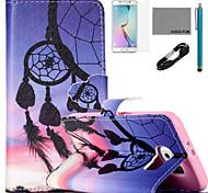 padrão sunset vento-sino caso de couro de coco fun® pu com cabo usb v8, flim, caneta e stand para Samsung Galaxy s6 borda