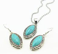 Vintage Look Antique Silver Plated Turquoise Stone Necklace Earring Jewelry Set(1Set)