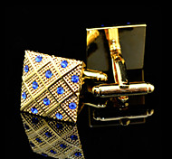 Fashion Copper Men Gift Jewelry Gold Plated Blue CZ Crystal Shirt Button Cufflinks(1Pair)