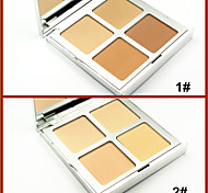 4 Colors Pressed Face Powder Cake Natural Makeup Powder Mineral Dry Concealer Bronzer Skin Finish(Assorted Colors)