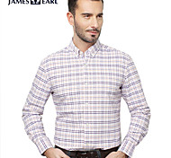 JamesEarl Men's Shirt Collar Long Sleeve Shirt & Blouse Purple - DA192034318