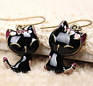 Women's  Black Retro Enamel Cute Little Smile Cat Alloy Earring