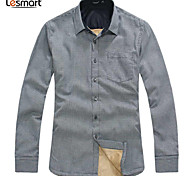 Lesmart Hommes Col de Chemise Manche Longues Shirt et Chemisier Noir / Rouge / Marron / Bleu foncé - SX13124