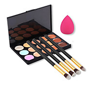 15 Colors Facial Concealer Palette+4pcs Eyes Brush+Beauty Makeup Foundation Egg Puff(Assorted Sets)