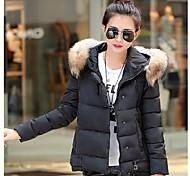 Women's Fashional Short Eiderdown Cotton Skiing Jacket with Big Fur