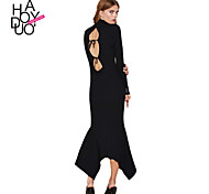 Haoduoyi Women's Deep V Long Sleeve Maxi Dress - 15151M603