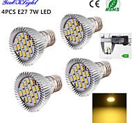 7W E26/E27 Focos LED A50 15 SMD 5630 600 lm Blanco Cálido Decorativa AC 100-240 / AC 110-130 V 4 piezas