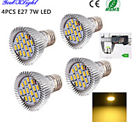 7W E26/E27 LED Spot Lampen A50 15 SMD 5630 600 lm Warmes Weiß Dekorativ AC 220-240 / AC 110-130 V 4 Stück