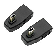 CY® Female USB 2.0 to Left and Right Bending MINI USB Adapter for AUX(2 pcs)