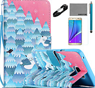 COCO FUN® Snow Forest Pattern PU Leather Case with V8 USB Cable, Flim and Stylus for Samsung Galaxy Note 5