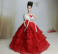 Barbie Doll - Abiti - Matrimonio - di Organza / Pizzo - Rosso - Abiti