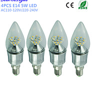YouOKLight® 4PCS E14 5W 450lm 25xSMD2835 Warm White High quality cone shape LED Candle Light-Silver(AC110-120V/220-240V)