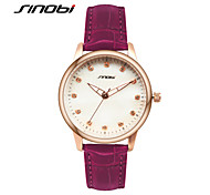 SINOBI® Ladies' Fashion Quartz Watch Diamond Nail Rose Gold Case Purple Leather Women's Watches Wristwatches Cool Watches Unique Watches