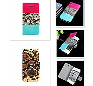 For iPhone 5 Case Card Holder / with Stand / Flip / Pattern Case Full Body Case Leopard Print Hard PU Leather iPhone SE/5s/5