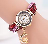 Ladies' Watch European Fashion New Pearl Inlaid Diamond Woven Leather Wrapped Round Ladies Bracelet Watch