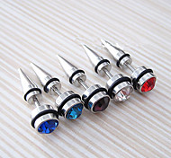 Unisex Fashion Titanium Steel Earring Crystal Single Stud Earrings for Men and Women 1pc