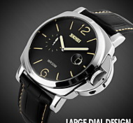 Men's Fashion Big Dial Leather Strap Quartz Watch Cool Watch Unique Watch