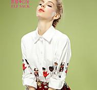 ELFSACK Women's Shirt Collar Long Sleeve Shirt & Blouse White - 1414071