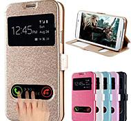 Para Funda Samsung Galaxy con Soporte / con Ventana / Flip Funda Cuerpo Entero Funda Un Color Cuero Sintético Samsung S5