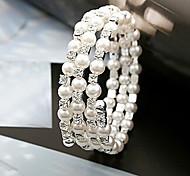 Fashion Jewelry Rhinestone Multilayer Pearl Bracelet