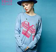 ELFSACK Femme Col Arrondi Manche Longues Pull & Cardigan Bleu / Blanc - 1449046