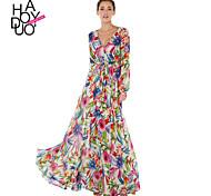 Haoduoyi Women's Deep V Long Sleeve Maxi Dress - 15151B058