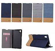 Luxury Flip Canvas Leather Case With Wallet Card Slot Holder For Sony Xperia Z5 (Assorted Colors)