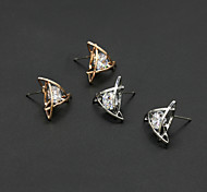 Women's Fashion Gold Plated Crystal Geometry Earrings