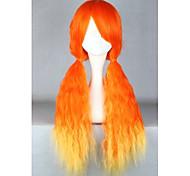 Lolita Wigs Sweet Lolita Color Gradient Long Orange Lolita Wig 70 CM Cosplay Wigs Patchwork Wig For Women