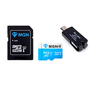 Original MGN 32GB  Class 10 MicroSDHC TF Flash Memory Card with SD SDHC Adapter and USB & OTG  Two in One Card Reader