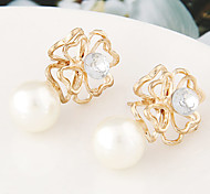 European Style Fashion Roses Pearl Rhinestone Earrings
